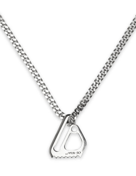 Women's Silver Off-White Small Mecanic Pendant Necklace OWOB010S20MET0017200
