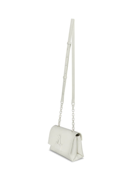 Women's White Off-White Soft Small Binder Clip Bag OWNA121S20LEA0010300