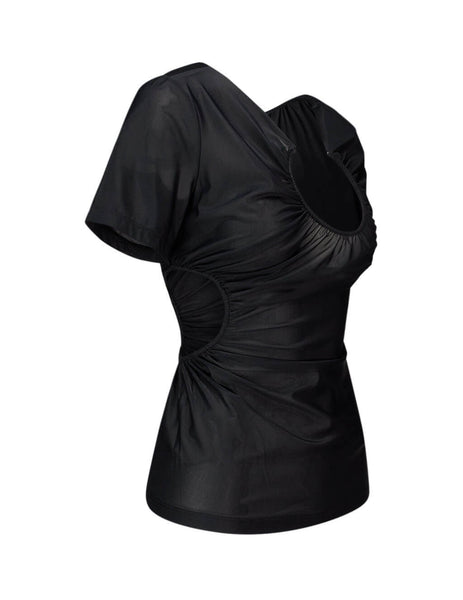 Women's Black Off-White Swiss Cheese Fitted Top OWAD117S20FAB0011000