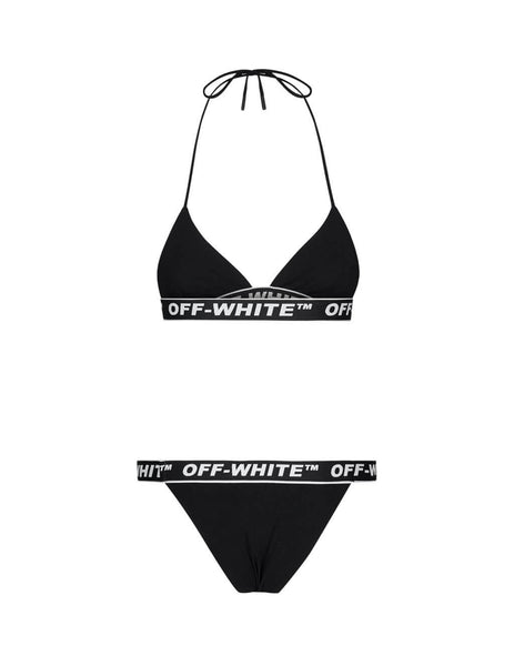 Women's Black Off-White Tape Bikini Top and Briefs OWFA034S20FAB0011000