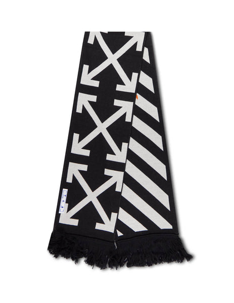 Men's Black and White Off-White Trademark Logo Scarf OMMA001E20KNI0011001