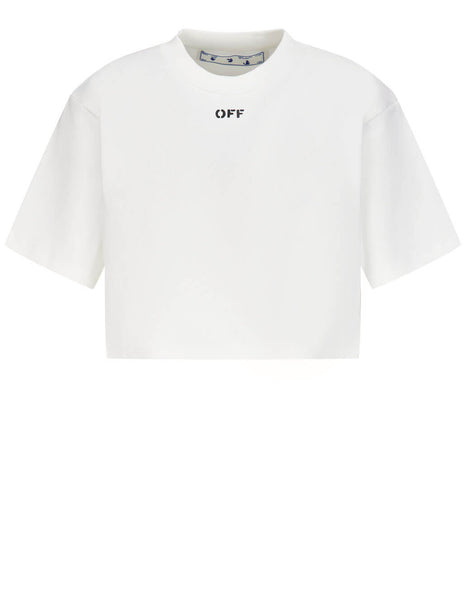 Off-White White Logo Print Cropped Rib T-Shirt OWAA081R21JER0010110