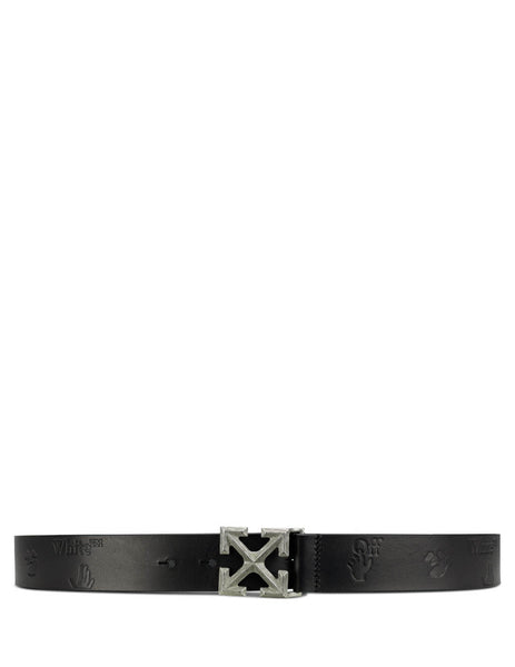 Men's Black Off-White Arrow Leather Belt OMRB046E20LEA0011078