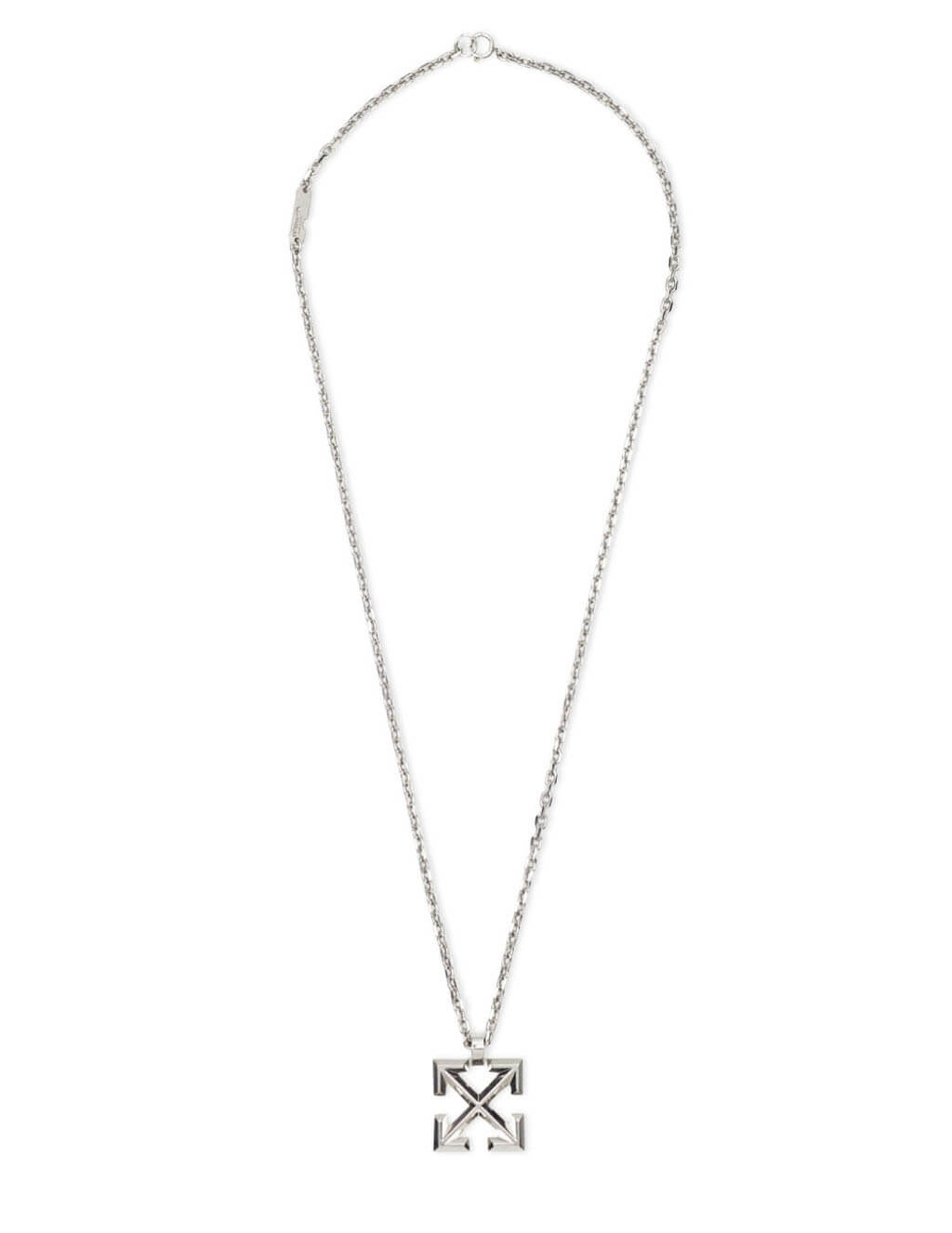 Men's Off-White Arrow Pendant Necklace in Silver - OMOB019R21MET0017200