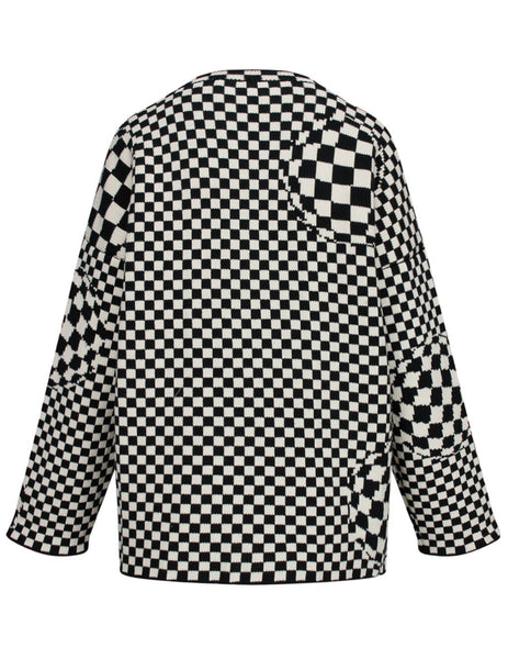 Off-White Women's Giulio Fashion Black and White Checked Knit Sweater OWHE017F19F940501000