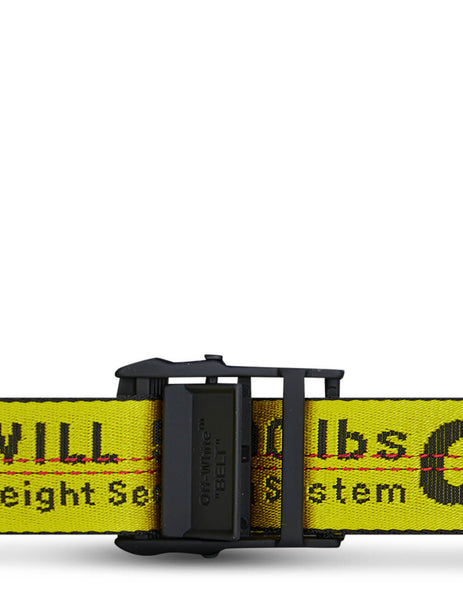 Men's Off-White Classic Industrial Belt in Yellow/Black - OMRB012R21FAB0011810