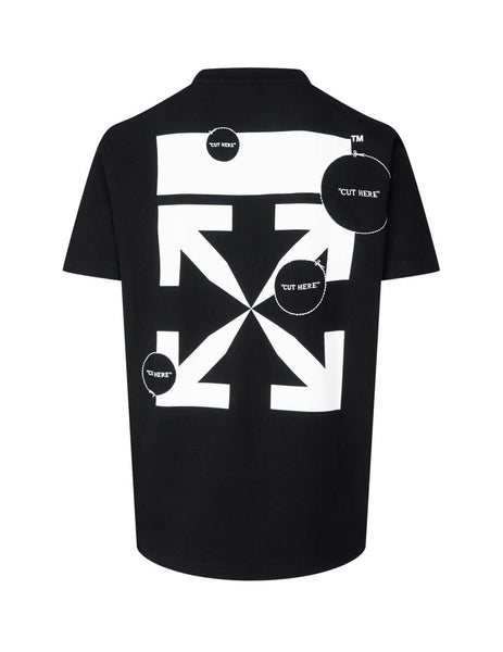 Men's Off-White Cut Here T-Shirt in Black. OMAA027F20FAB0091001