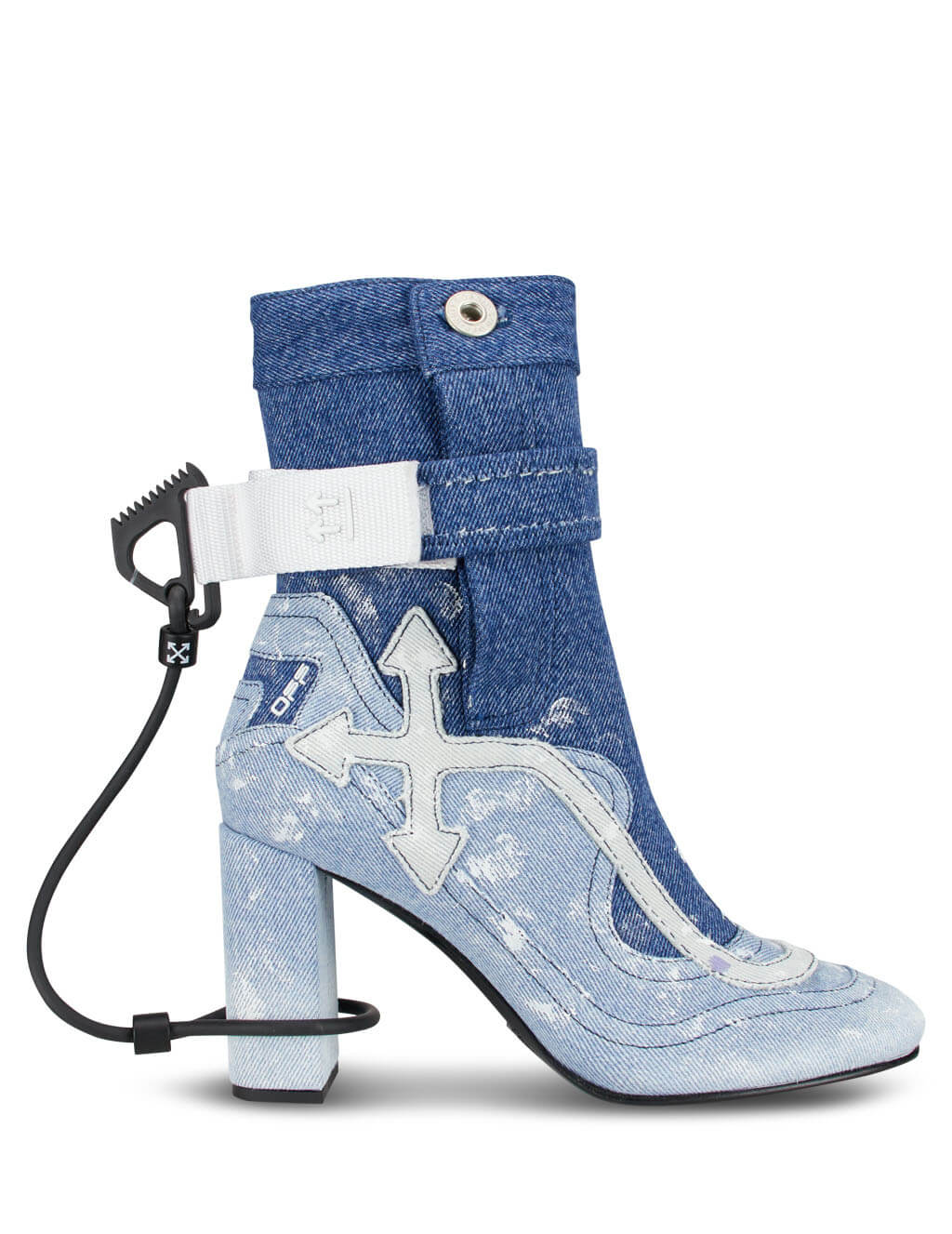 Off-White Women's Giulio Fashion Blue Denim Surf Boots OWIA197R207731107101