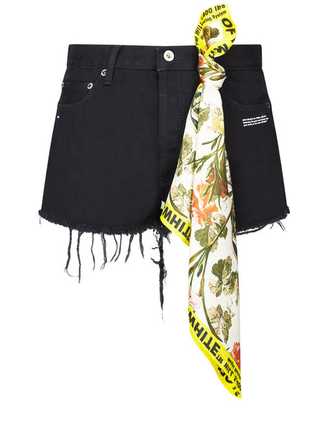 Off-White Women's Black Denim Shorts with Detachable Scarf OWYC002E19E980778600