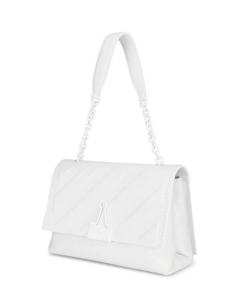Women's White Off-White Diag Embossed Medium Bag OWNA120E20LEA0090100