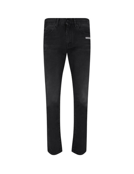 Men's Black Off-White Diag Slim Jeans OMYA011E20DEN0011001