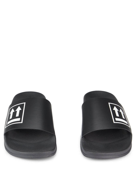 Off-White Men's Giulio Fashion Black Double Arrow Sliders OMIA088E19C220531001