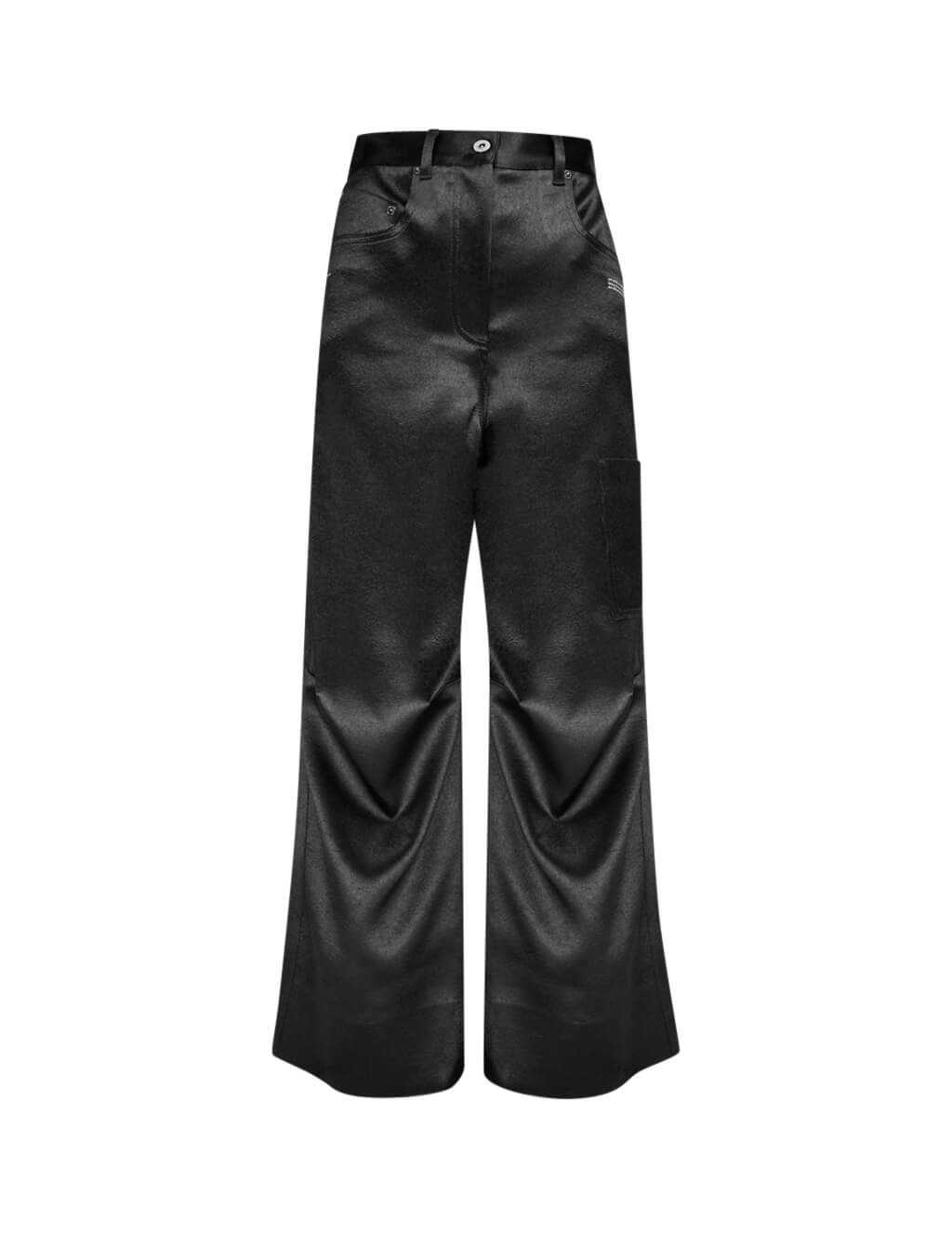 Off-White Women's Giulio Fashion Black Duchesse Tomboy Trousers OWCA095F19F830501000