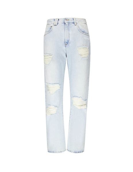 Off-White Women's Giulio Fashion Blue Embroidery Baggy Jeans OWYA012F197730647101