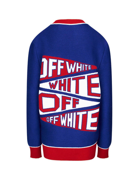 Off-White Women's Blue Wool Flag Cardigan OWHB006E19A280753020