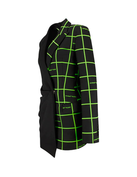 Off-White Women's Giulio Fashion Black and Green Flock Jacket Dress OWDB184F19F840501000