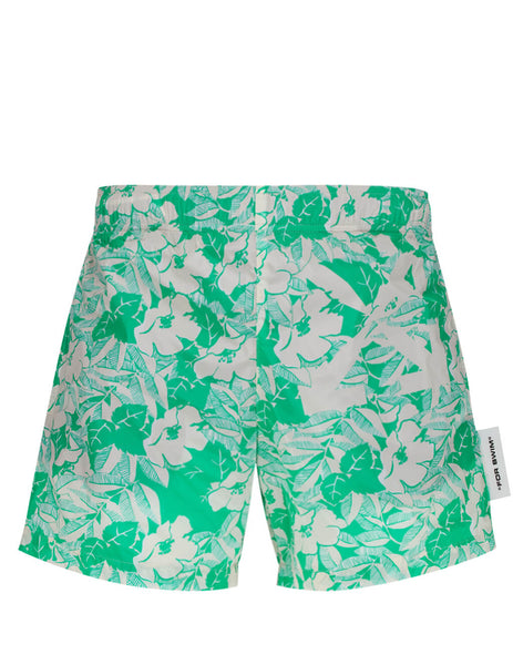 Men's Mint Green Off-White Floral Swim Shorts OMFA003S20G440349944
