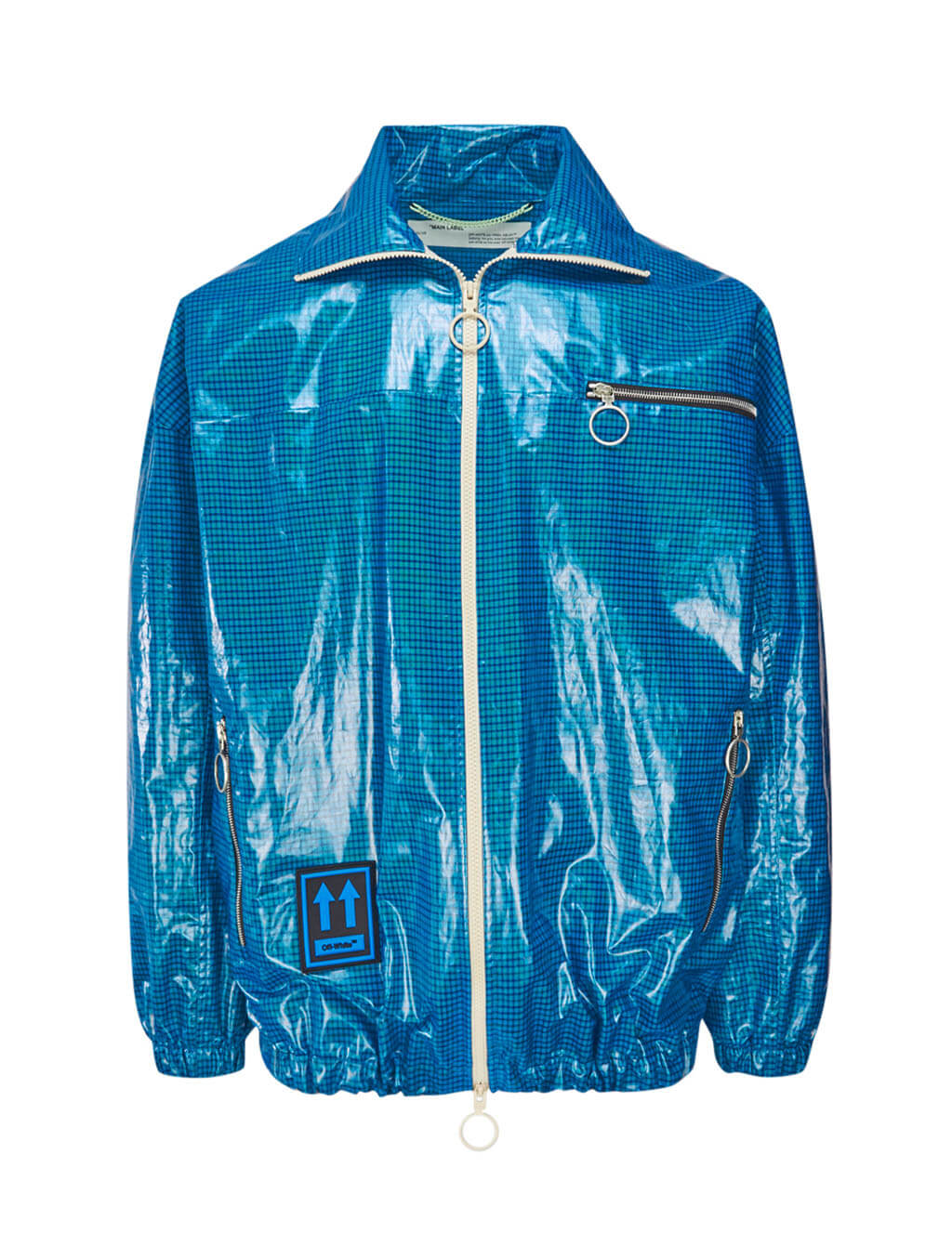 Off-White Men's Giulio Fashion Blue High-Shine Anorak OMEA186E19E120023000