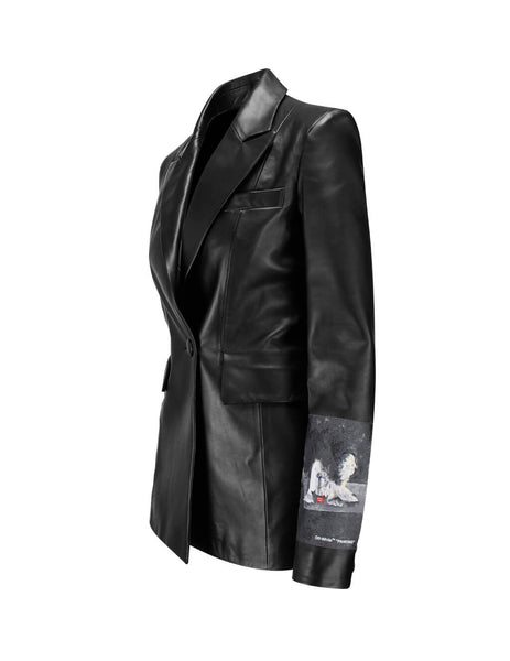Off-White Women's Giulio Fashion Black Leather Fitted Blazer Jacket OWJA023F199860501000
