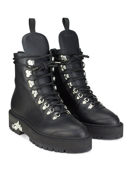 Off-White Women's Black Leather Hiking Boot OWIA045E19D680771000