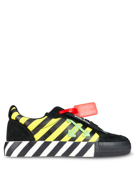 Off-White Men's Giulio Fashion Black/Yellow/Green Low Vulcanized Sneakers OMIA085E19C210476040