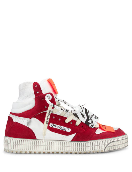 Men's White and Red Off-White Off Court Sneakers OMIA065E20LEA0020125