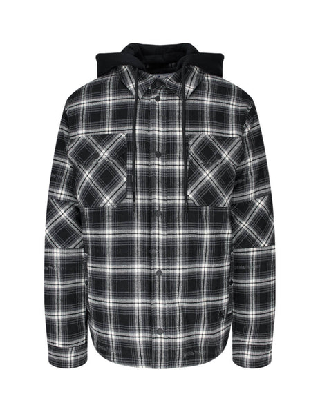 Off-White Men's Giulio Fashion Black Padded Flannel Shirt Jacket OMEA236E20FAB0011000
