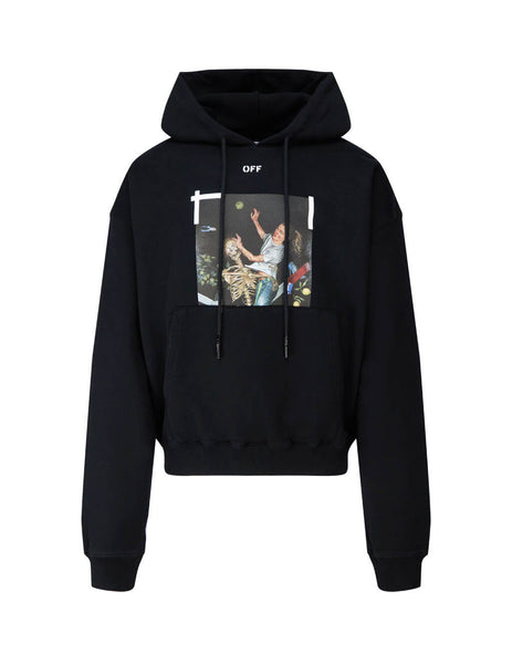 Men's Off-White Pascal Print Hoodie in Black. OMBB037F20FLE0121001