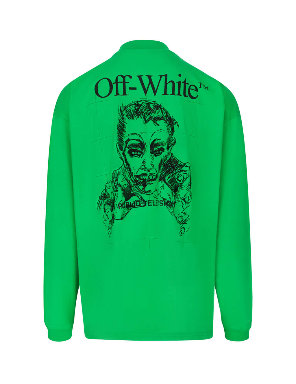 Off-White Men's Giulio Fashion Green Public Television T-Shirt OMAB032F191850184010