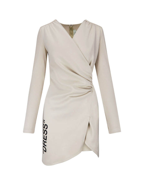 Off-White Women's Giulio Fashion Beige Quote Mini Dress OWDB176F19F850894810