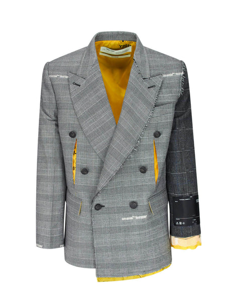Off-White Men's Gulio Fashion Grey/Yellow Reconstructed Volume Double-Breasted Jacket OMEF044F19F240038800