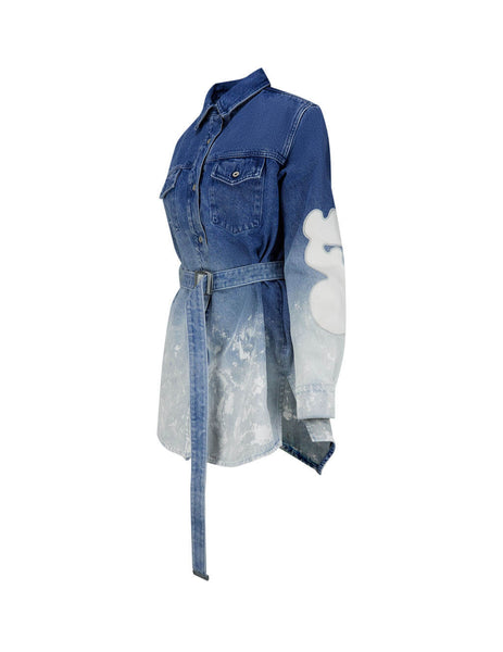 Women's Bleached Denim Off-White Shape Dress OWYM002R207730987171