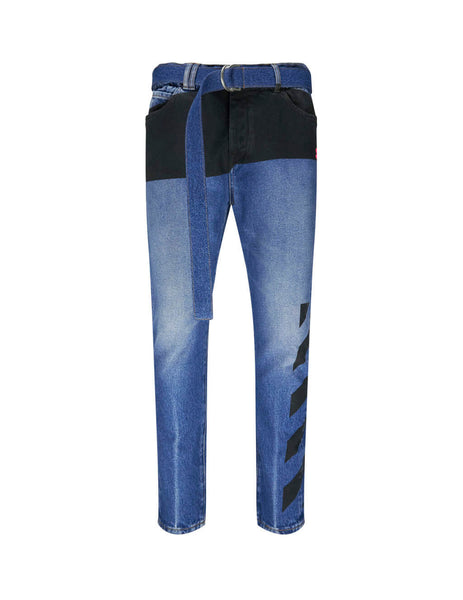 Off-White Men's Giulio Fashion Dark Blue Slim Low Crotch Jeans OMYA005E193860453228