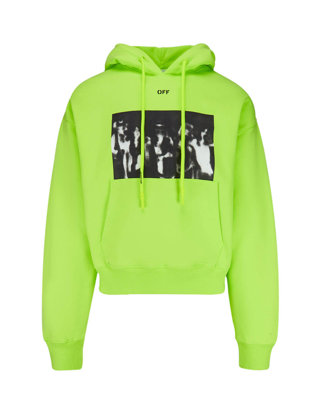 Off-White Men's Fluorescent Yellow Spray Painting Over Hoodie OMBB037R20E300156210