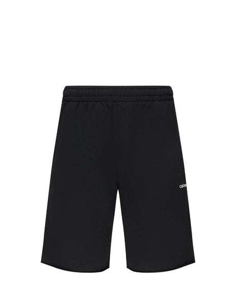 Off-White Men's Giulio Fashion Black Stencil Sweat Shorts OMCI006E20FLE0011001