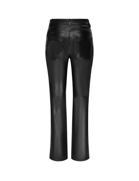 Women's Off-White Straight Leather Trousers in Black - OWJB011E20LEA0011000