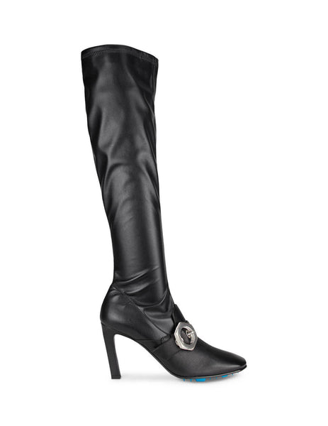 Off-White Women's Black Stretch High Heel Boots OWIA247E20LEA0041000