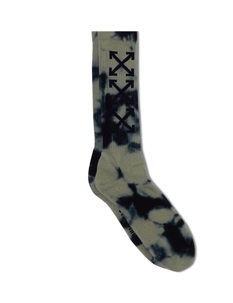 Men's Grey Off-White Tie-Dye Arrow Socks OMRA001S201200450810