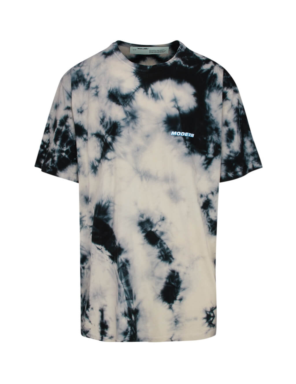 Men's Beige and Black Off-White Tie-Dye T-Shirt OMAA083S201850204800