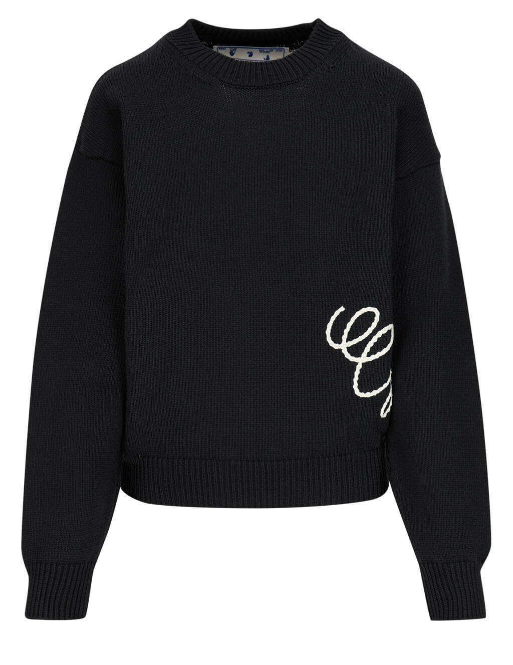 Women's Off-White Two-Tone Embroidered Jumper in Black/Beige - OWHE036R21KNI0011061
