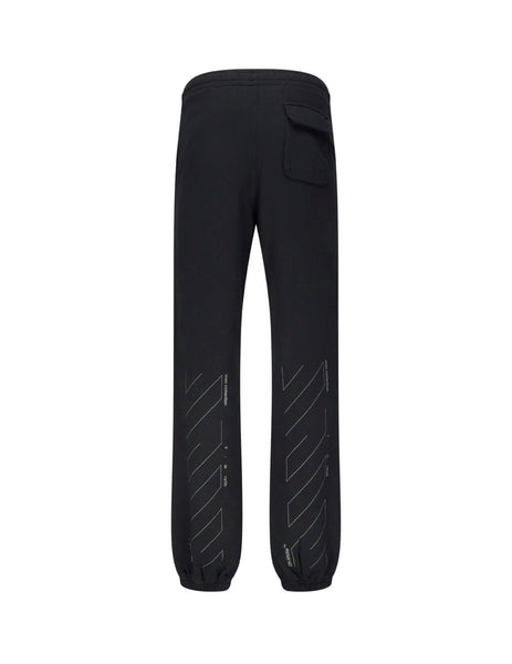 Off-White Men's Giulio Fashion Black Unfinished Slim Sweatpants OMCH020E19E300031091