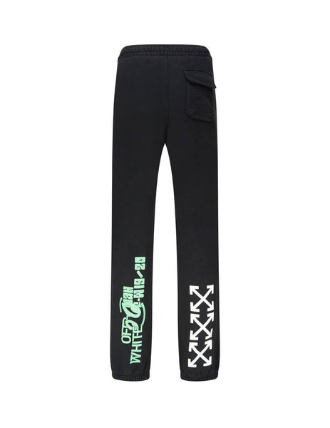 Off-White Men's Giulio Fashion Black Watercolour Waterfall Sweatpants OMCH020E19E300151088