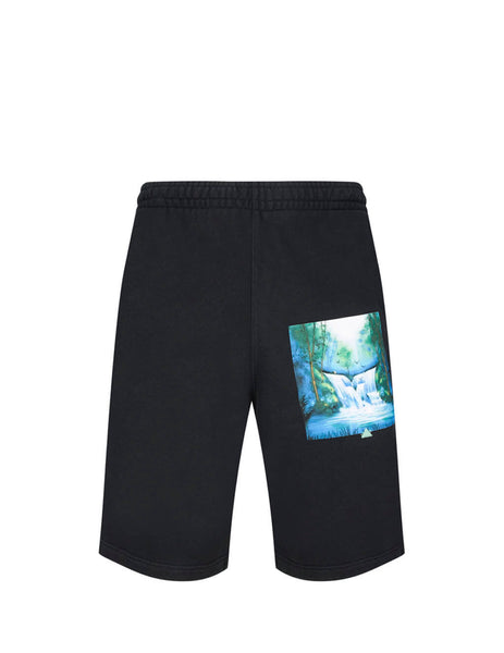 Off-White Men's Giulio Fashion Black Waterfall Shorts OMCI006E19E300151088