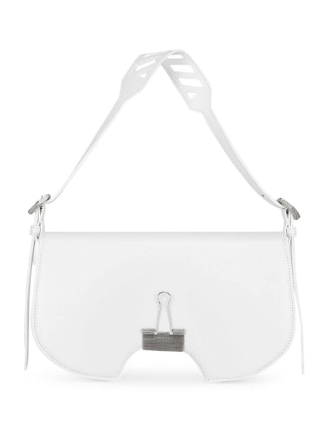 Women's White Leather Off-White Wrinkled Swiss Flap Bag. OWNA141E20LEA0020100