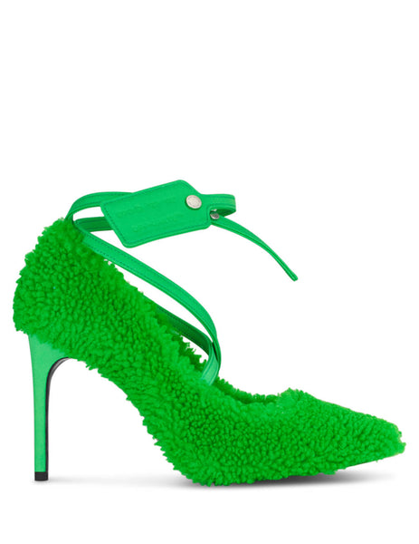 Off-White Women's Giulio Fashion Green Zip Tie Heels OWIA187F19E850504000