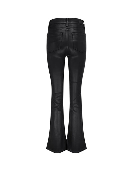 Women's PAIGE High Rise Manhattan Jeans with Luxe Coating in Black Fog. 65149013364