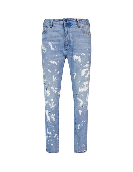 Men's Palm Angels 5 Pocket Painter Jeans in Light Blue/White PMYA012E20DEN0044001