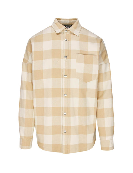 Palm Angels Men's Giulio Fashion Beige and White Logo Checked Shirt PMGA024S207490238820