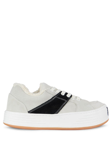 Palm Angels Men's White Suede Snow Low Top Sneaker PMIA051F20LEA0010110