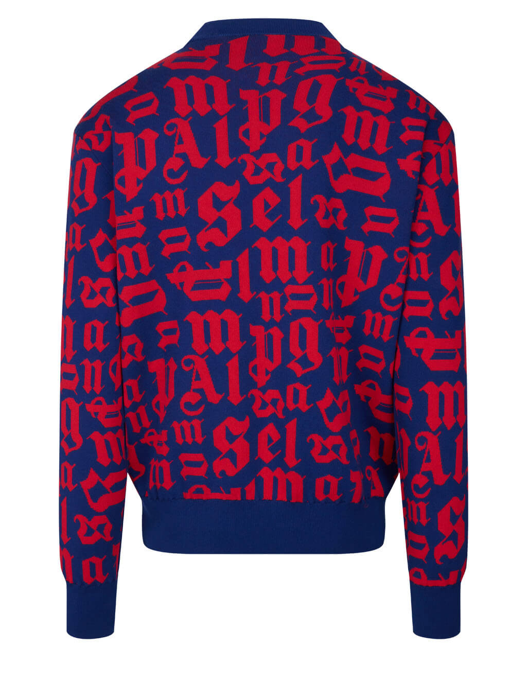 Men's Palm Angels Broken Monogram Jumper in Navy Blue/Red - PMHE013R21KNI0014625
